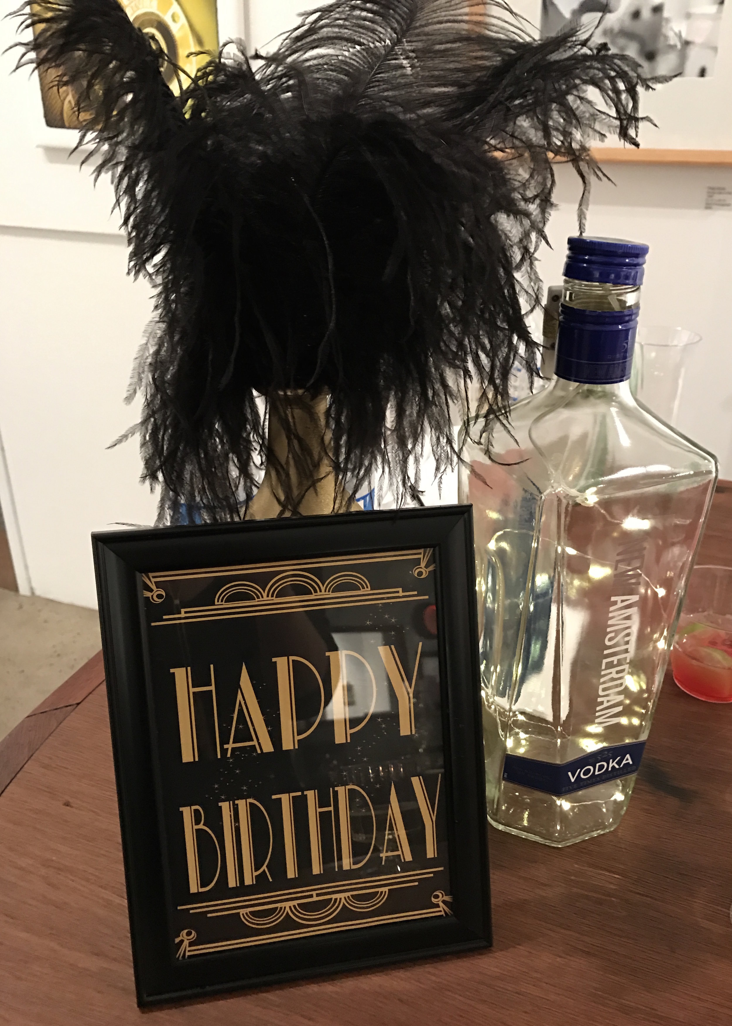 40th Birthday   Venue:  The Liberty Art Gallery & Event Space, Long Beach  Light up oversized liquor bottle with flexible lights!   Over The Moon Package: Full Design, Planning, & Coordination