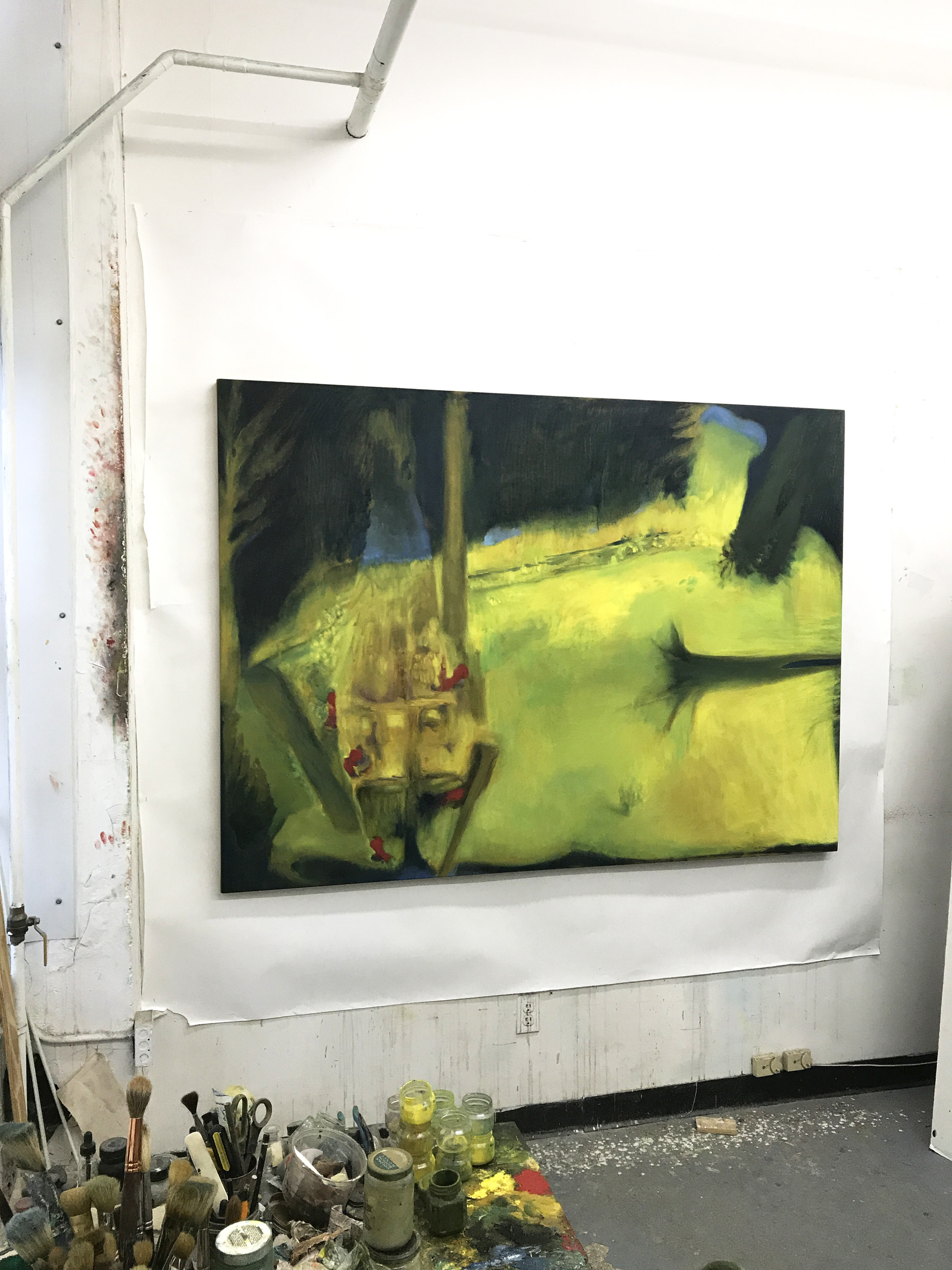 John Benicewicz. Johnny, 2017. Oil on linen, 54 by 74 inches. Studio View.