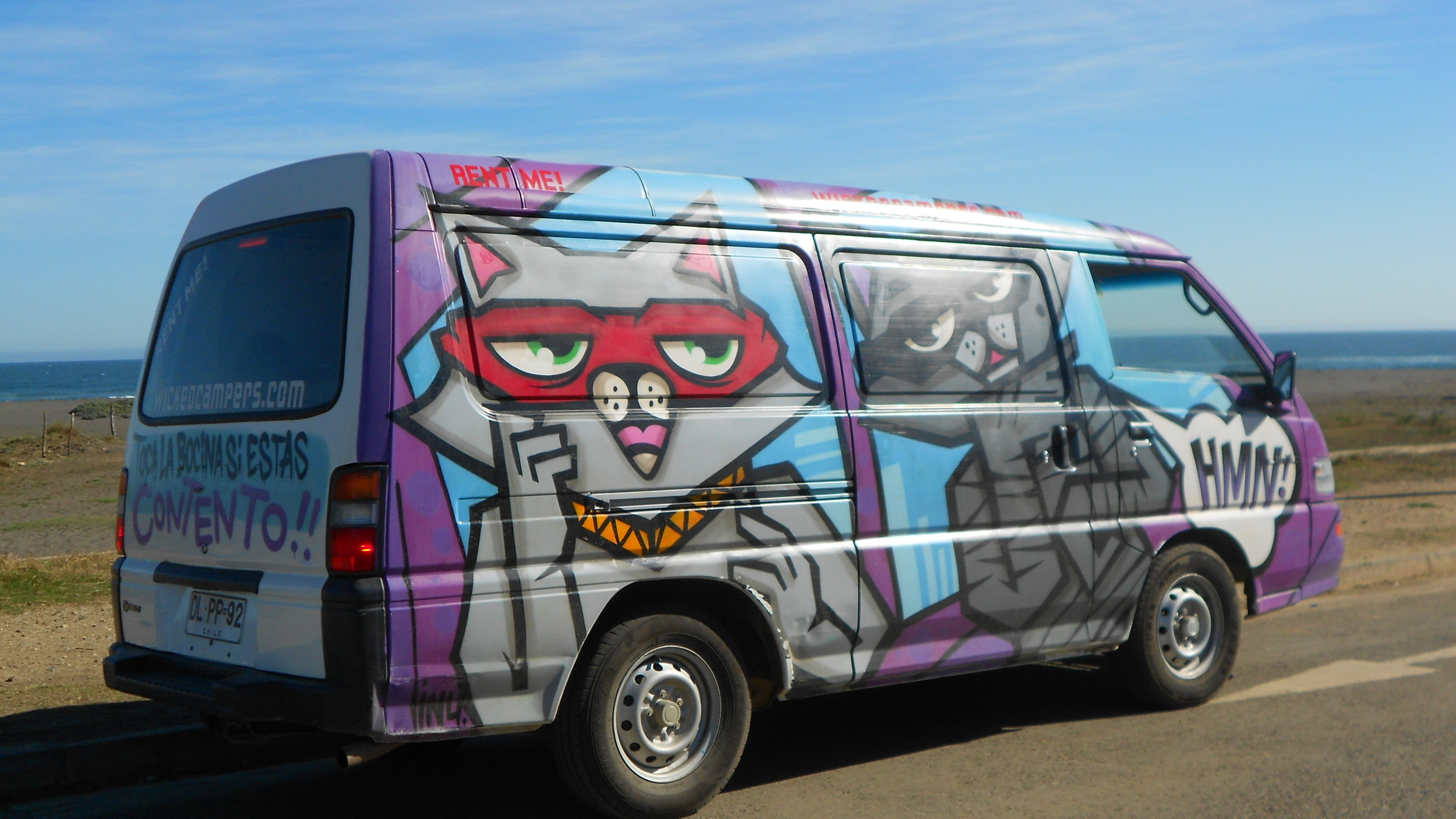 The campervan we rented in Chile- the kitty paint job was a nice surprise.