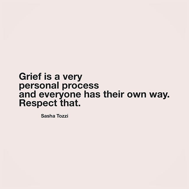 """Grief seems to be a widely misunderstood concept and since it's an inevitable part of life, I'd like to shed some light on it. . Everyone grieves differently and there's really no """"right"""" or """"wrong"""" way to do it. There are more healthy and less healthy ways to grieve, though, and mostly the best thing you can do is just let whatever you feel about the loss be ok. Grief is a natural response to loss and even though there's theory on it, in reality it looks different for everyone. . The 5 stages of grief, as outlined by Elizabeth Kübler-Ross, are: denial, anger, bargaining, depression, and acceptance. These emotional experiences are common & expected, but not mandatory, and there's not a straight path or linear progression that mourners go through. Grief is a very individual & unique, often internal process that tends to be circular and can look different with each loss. There's no timeline. Crying doesn't mean you care more than someone who doesn't cry. You might start with depression and then move to anger and then back to depression. It's unpredictable and it's all ok. It's your process. Respect it. . I don't think the loss is ever fully """"gotten over,"""" but one thing is for sure - grief changes you, from the inside out.✨"""