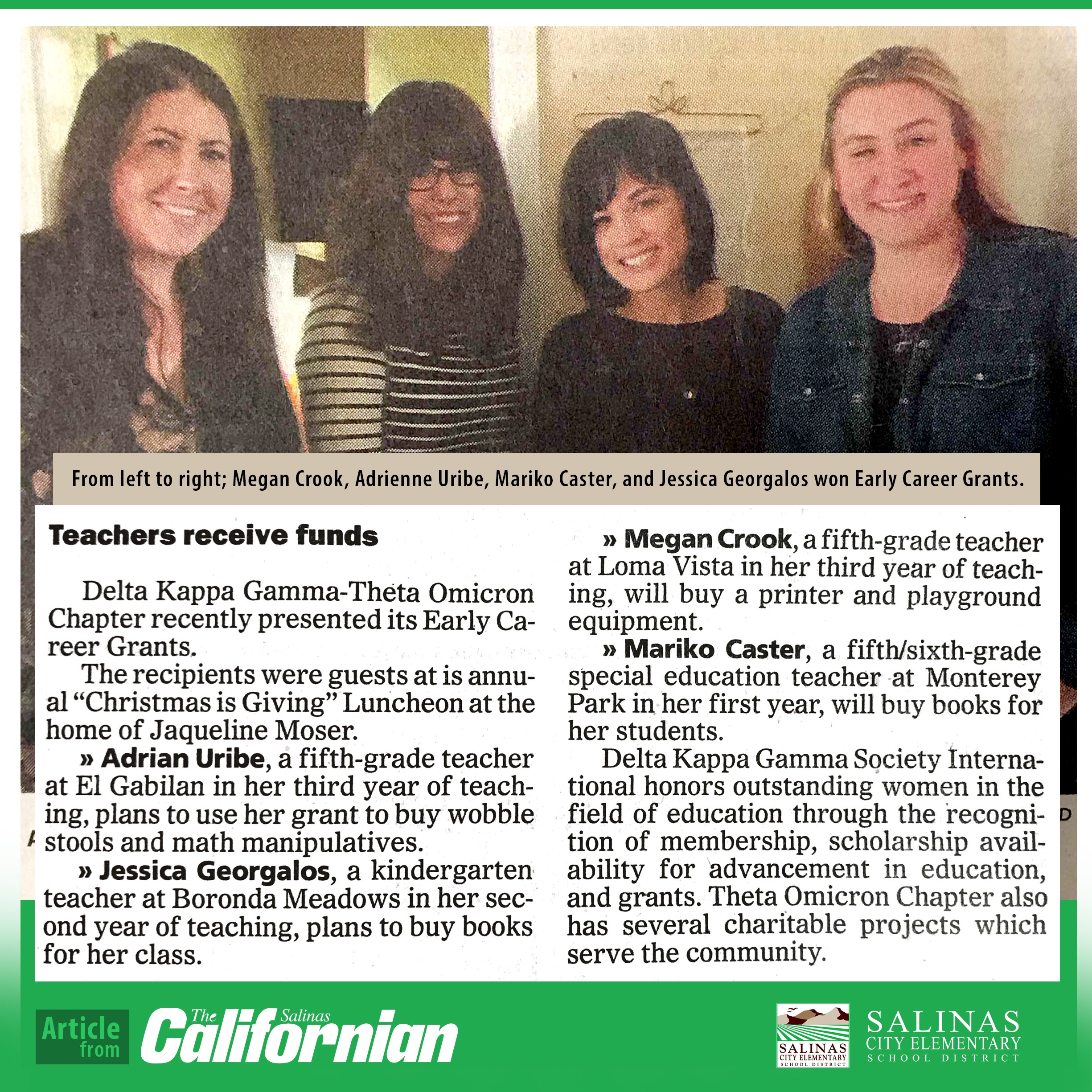 From left to right; Megan Crook, Adrienne Uribe, Mariko Caster, and Jessica Georgalos won Early Career Grants.