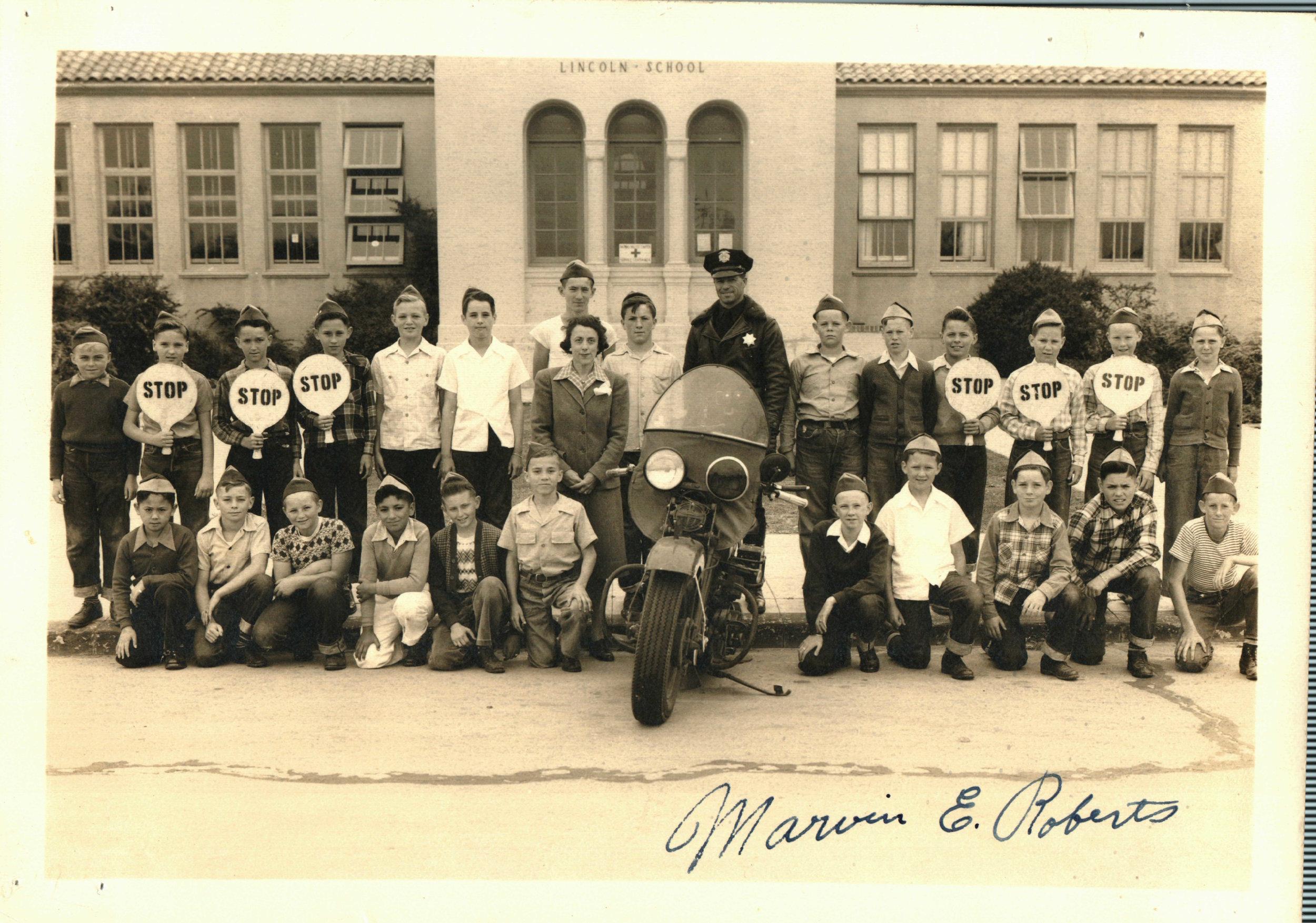 1941-Traffic Patrol at Lincoln School.JPG