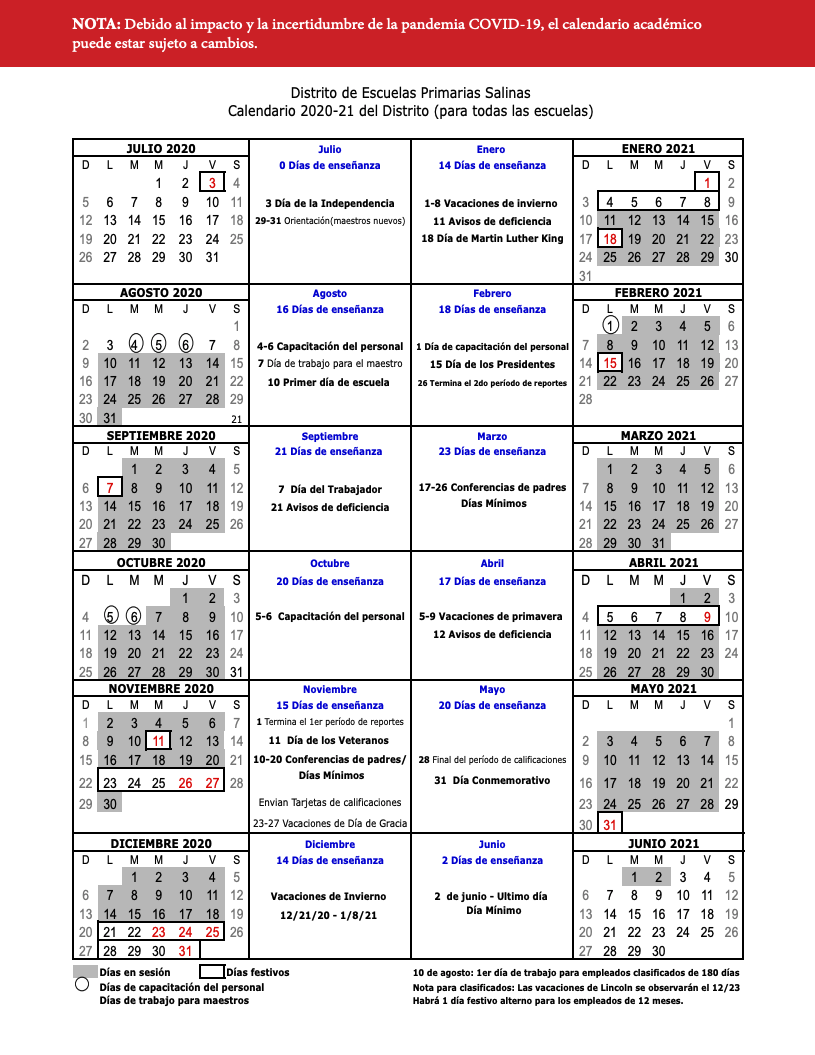 Images of Salinas Union High School District Calendar 2021-2022