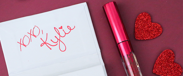 Kylie's Cosmetic's Valentine's Day Collection features the iconic Kylie lip-drip logo but dazzles in red glitter ...