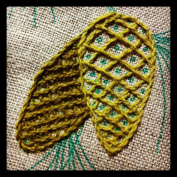 Pine cones in wool
