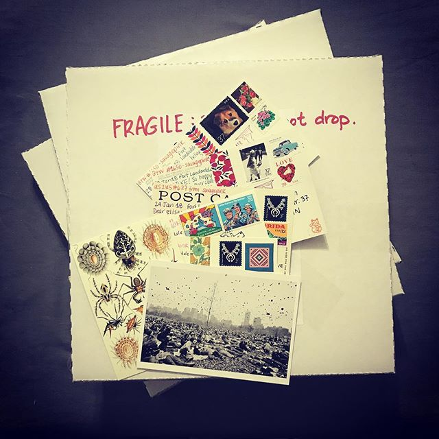 Off to the Post Office with 3 Discogs orders and lots of fun postcards. #snailmail #discogs #postcrossing