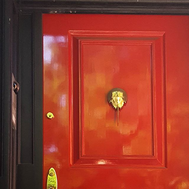 Love a red door. Even better when there's a horseshoe crab door knocker! #nycarchitecture #red #reddoor #nycstreets #facade #doorknocker #horseshoecrab