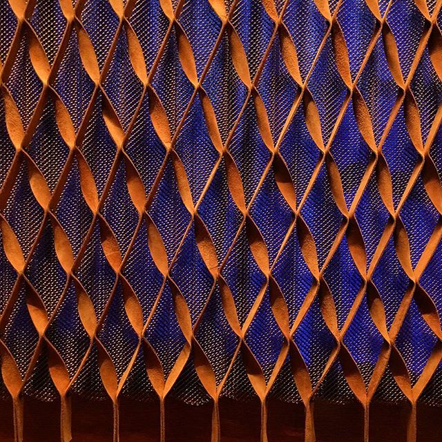 Leather screening. So cool. At Park Avenue Armory Veterans Room. #design #designdetails #screen #leather #interiors #textile #interiordesign #triangle  #hertzoganddemeuron #softarts