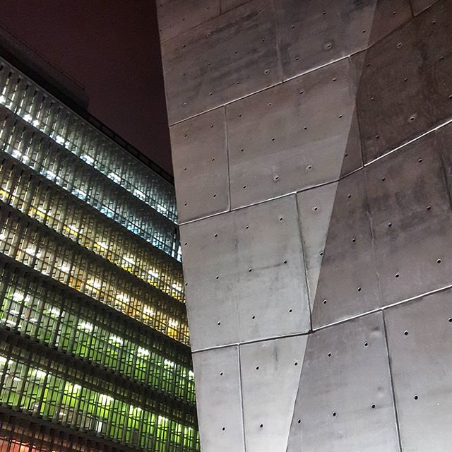 Who knew I could love a salt shed so much. by Dattner Architects #nycarchitecture #soho #modernarchitecture #color #light #patterns #cubist #concrete #form