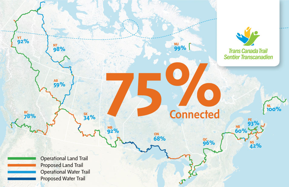 To find the Trail closest to you, explore the map on our website at  tctrail.ca/explore-the-trail .   OUR INTERACTIVE WEB MAP IS PROVIDED BY ESRI CANADA, A PROUD SUPPORTER OF THE TRANS CANADA TRAIL