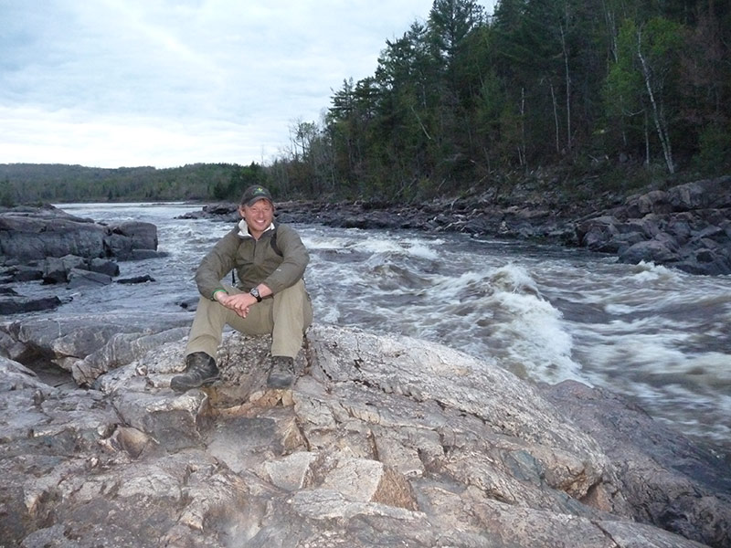 Dana Meis at a Gatineau River portage,near the TCT in Quebec.