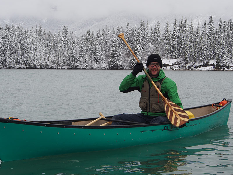 Marco Marder learns to canoe on the Bow River in Kananaskis,Alberta, before starting his journey.  Photo: Darin Zandee