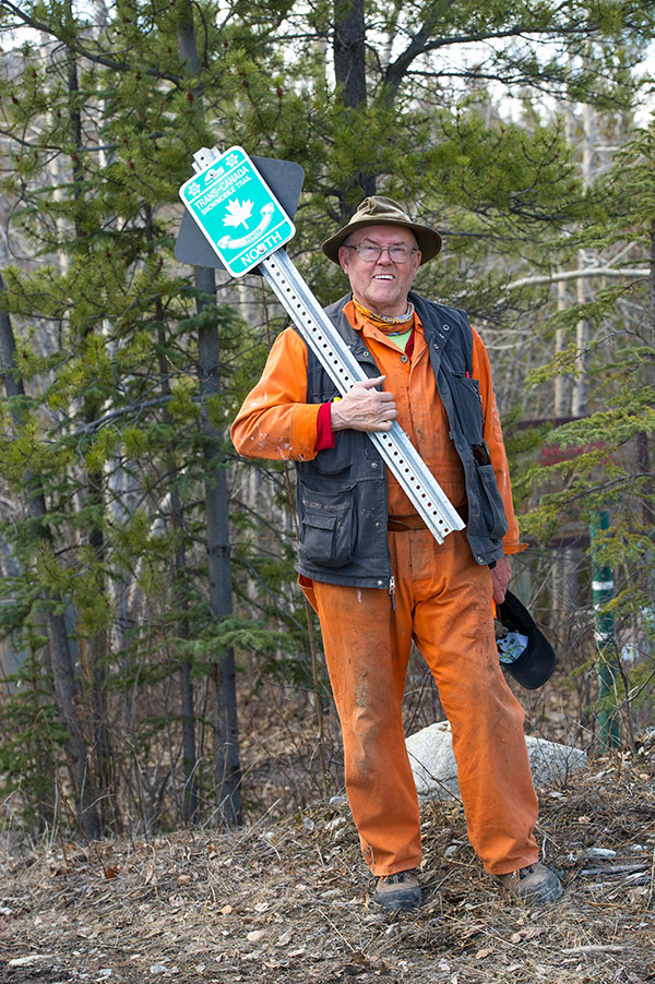 Harris Cox  working on the Whitehorse Copper Trail, part of the TCT.  Photo: www.archbould.com