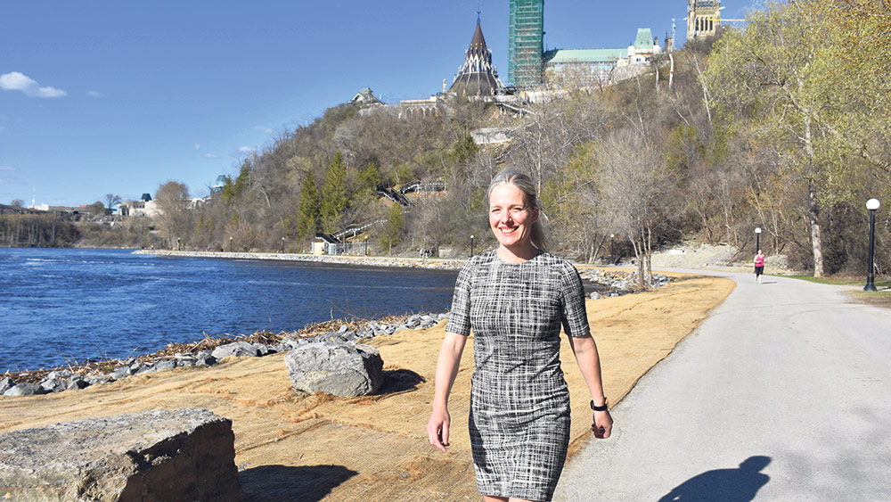 The Honourable Catherine McKenna, Minister of Environment and Climate Change, walks along The Great Trail in Ottawa. SUPPLIED