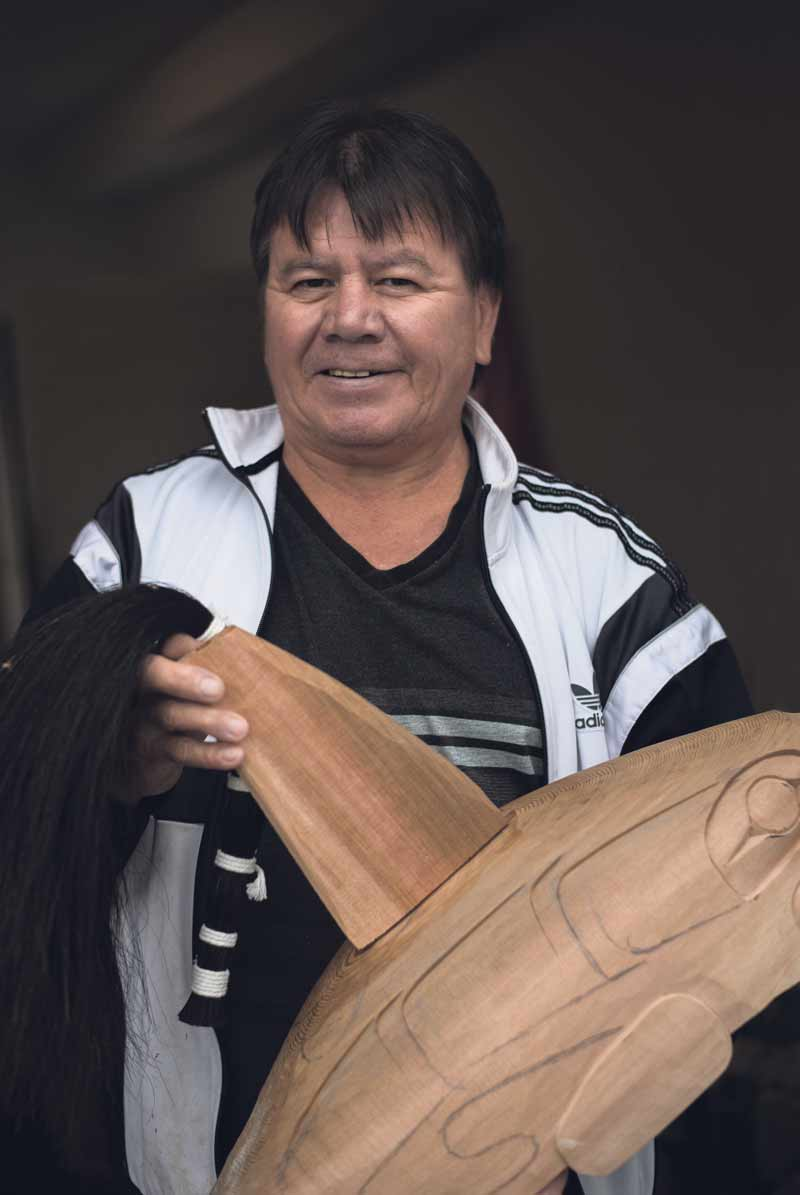 Darren Yelton, a Squamish Nation wood carver, learned to carve from his father and continues a lineage that goes back over 10,000 years.  Photo by Daniel Baylis