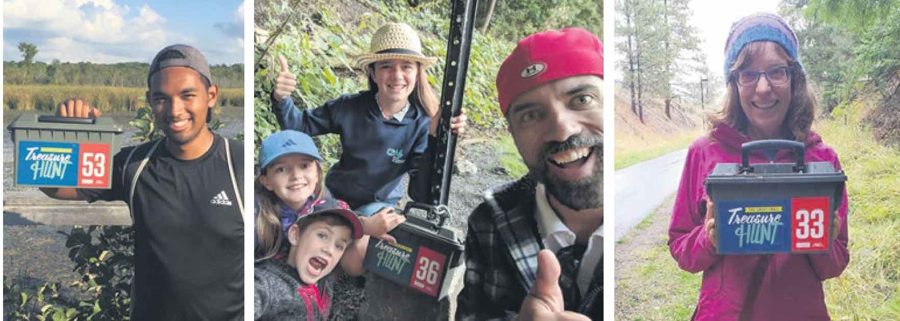 The happy faces of just some of the Trail explorers who found boxes in the 2018 Great Trail Treasure Hunt. There will be twice as many treasure boxes to uncover this year – 200 across the country.