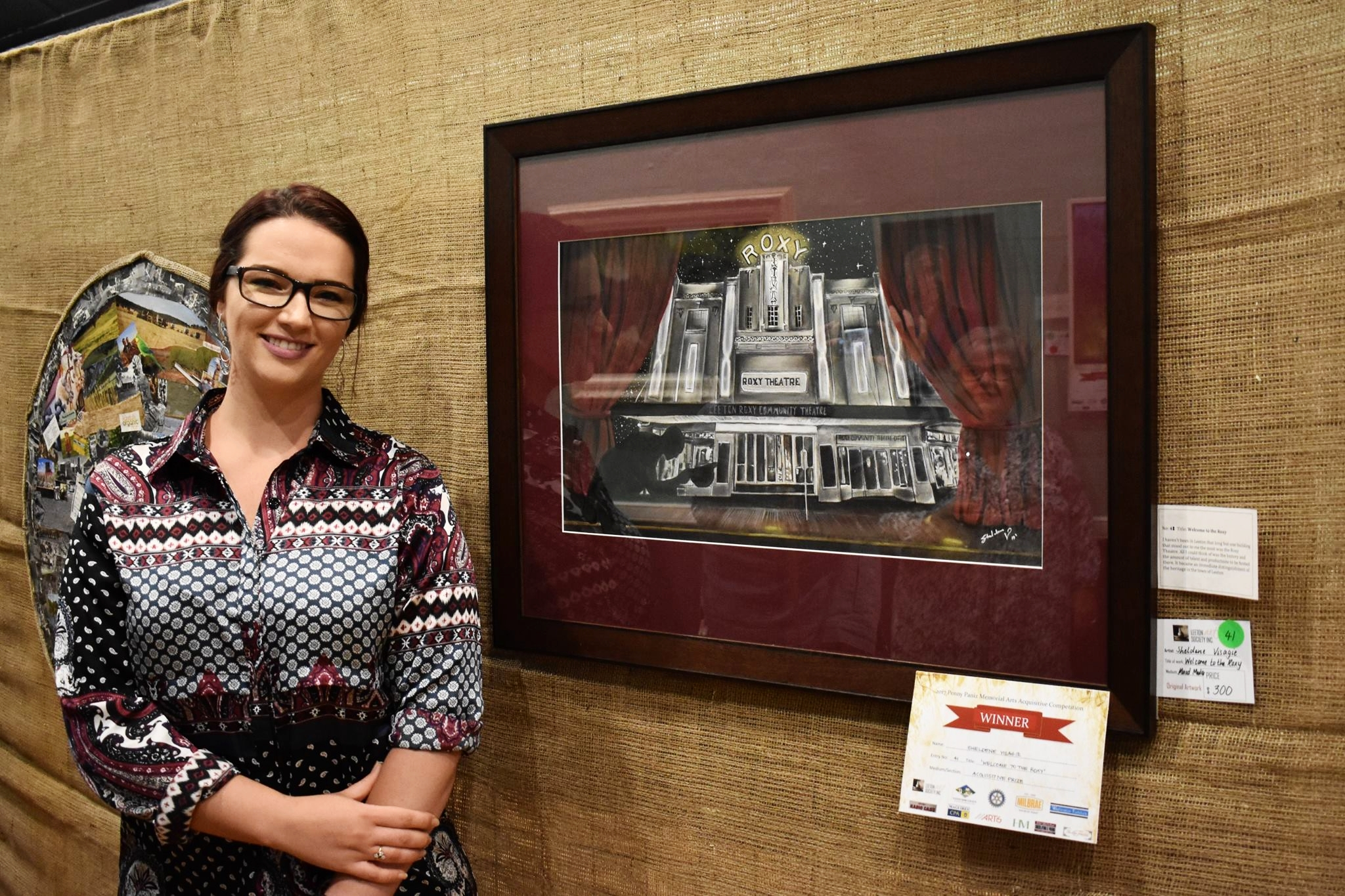 Winner 'Arts Acquisitive Prize' Sheldene Visagie with her artwork 'Welcome to the ROXY'
