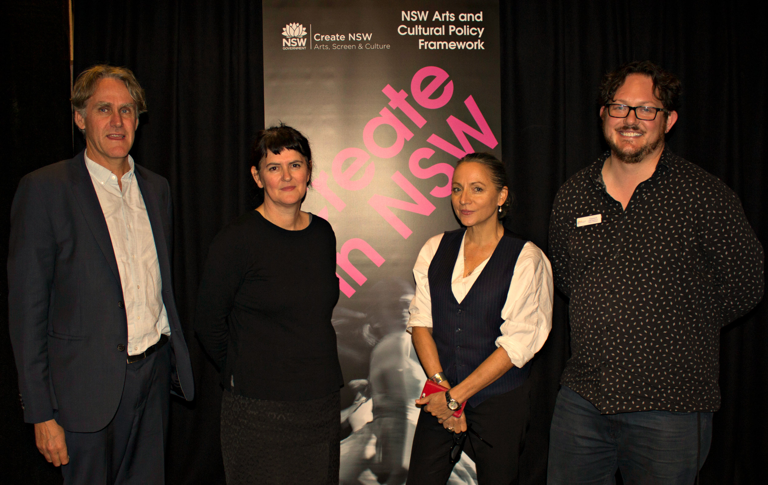 Create NSW experts David Everist, Sam Wild, and Andrea Ulbrick with Ray Wholohan, Coordinator Griffith Regional Art Gallery.