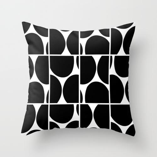 Dots Squared B&W pillow