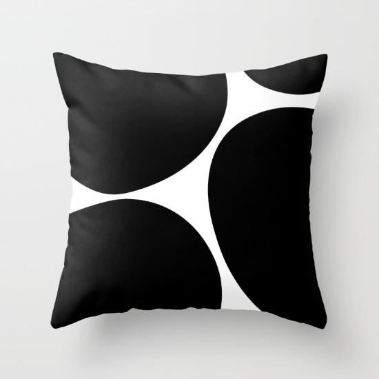 Big Dots black pillow
