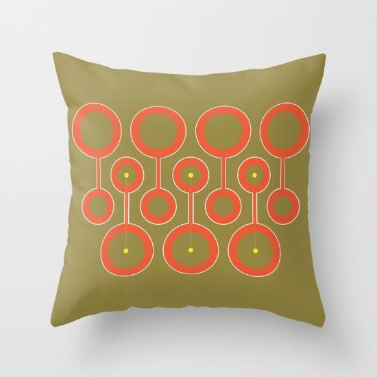 Circle to Circle green & orange pillow
