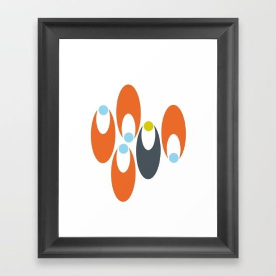 Oval Petals Scattered Orange framed print