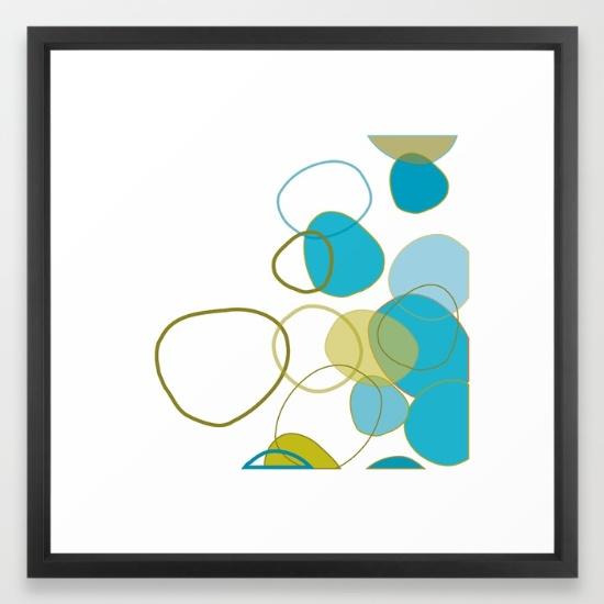 Jumbled blue & green framed art print