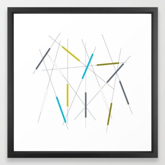 Criss Cross blue, green & gray framed art print