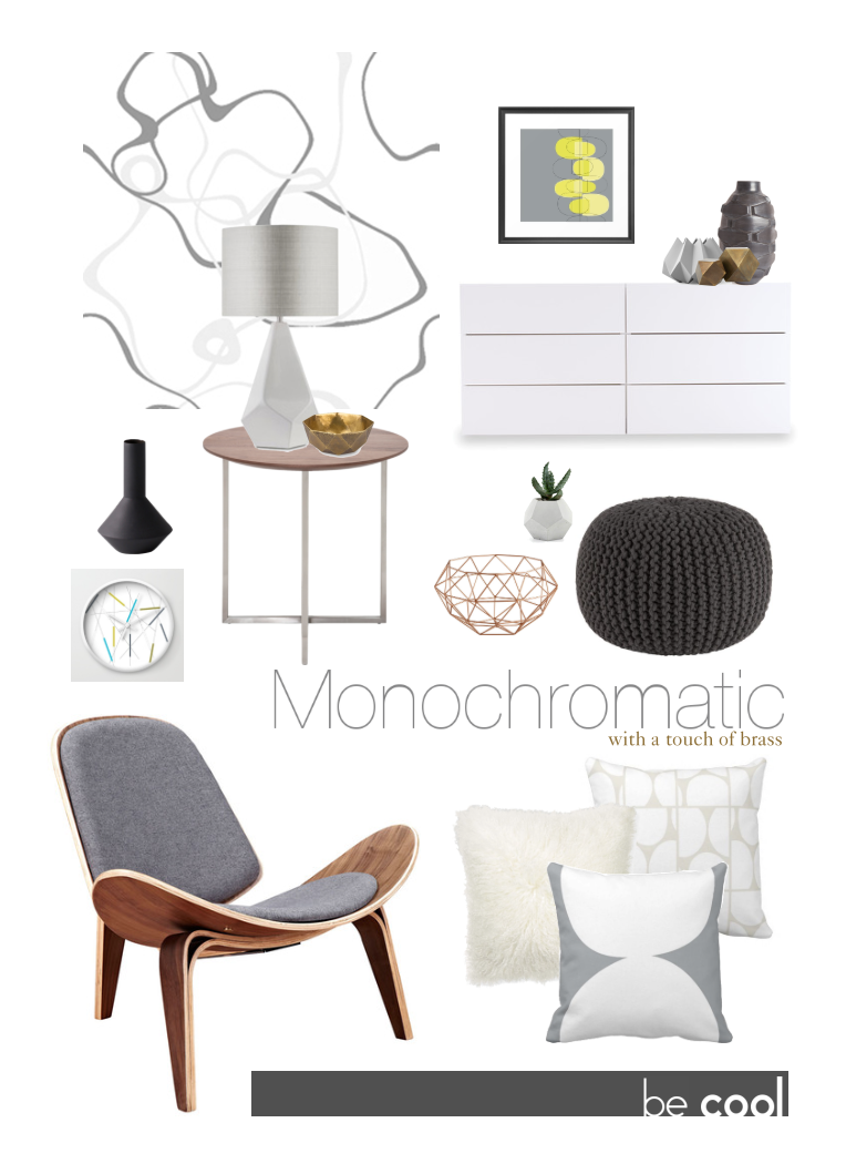Monochromatic gray with brass accents for contrast.