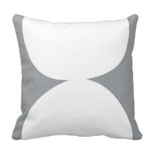 Stacked Circles gray throw pillow