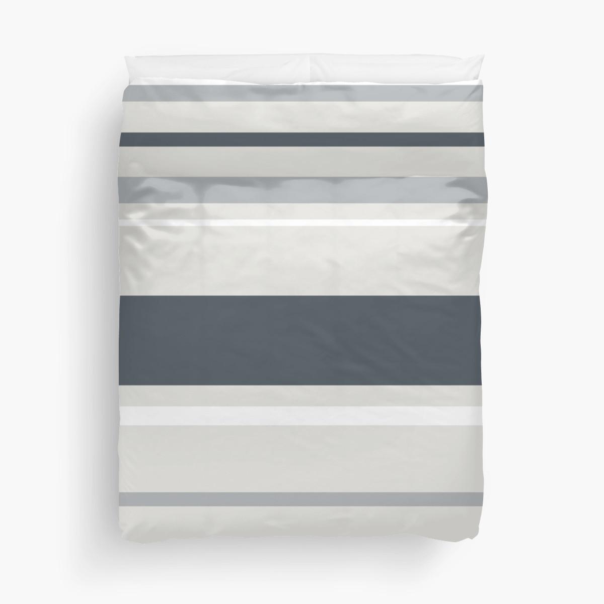 Strips in gray duvet cover
