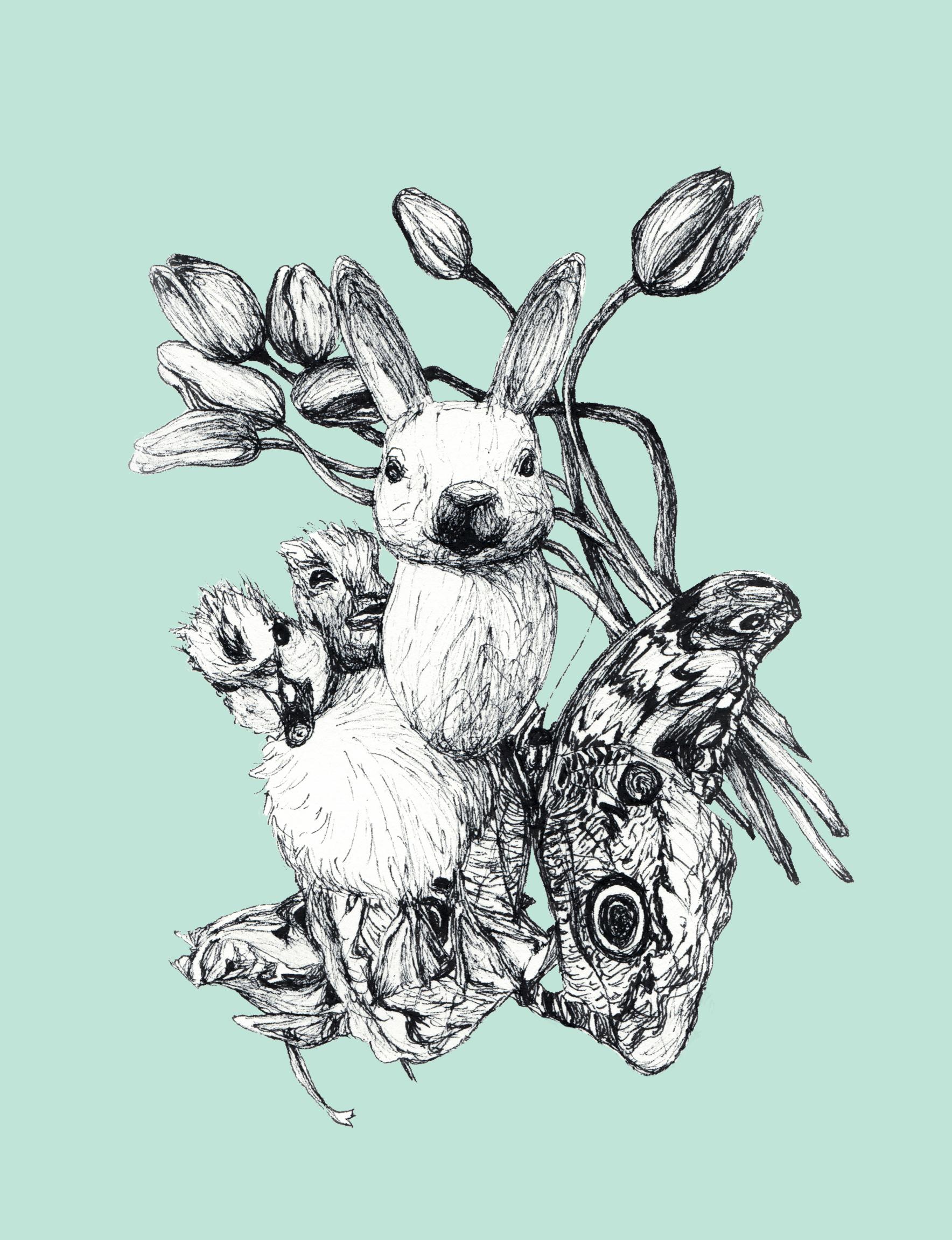 Bunny Memento Mori on Teal