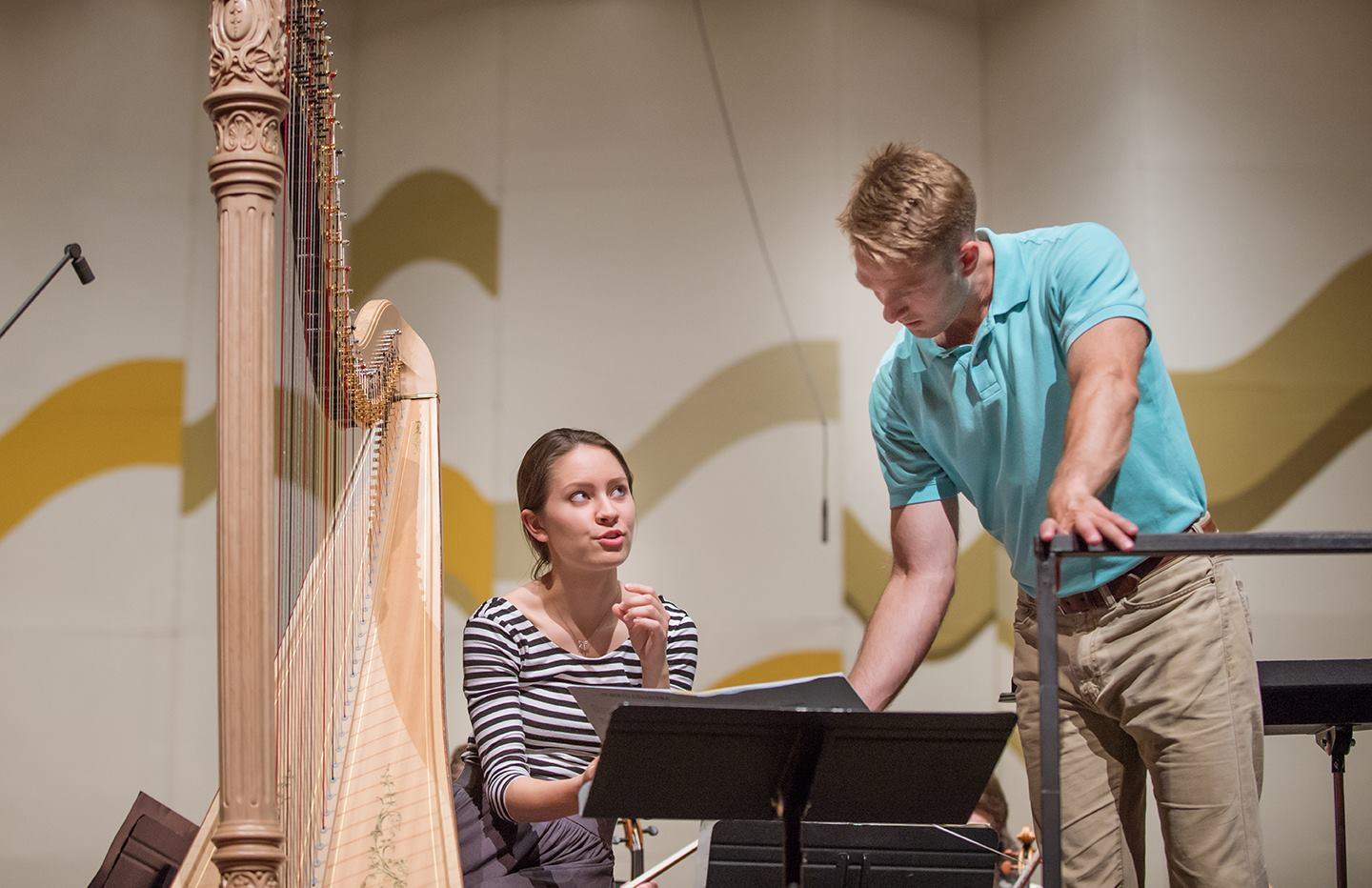 Rehearsing Ginastera Harp Concerto with conductor Brian Eads in the 2016 USA International Harp Competition
