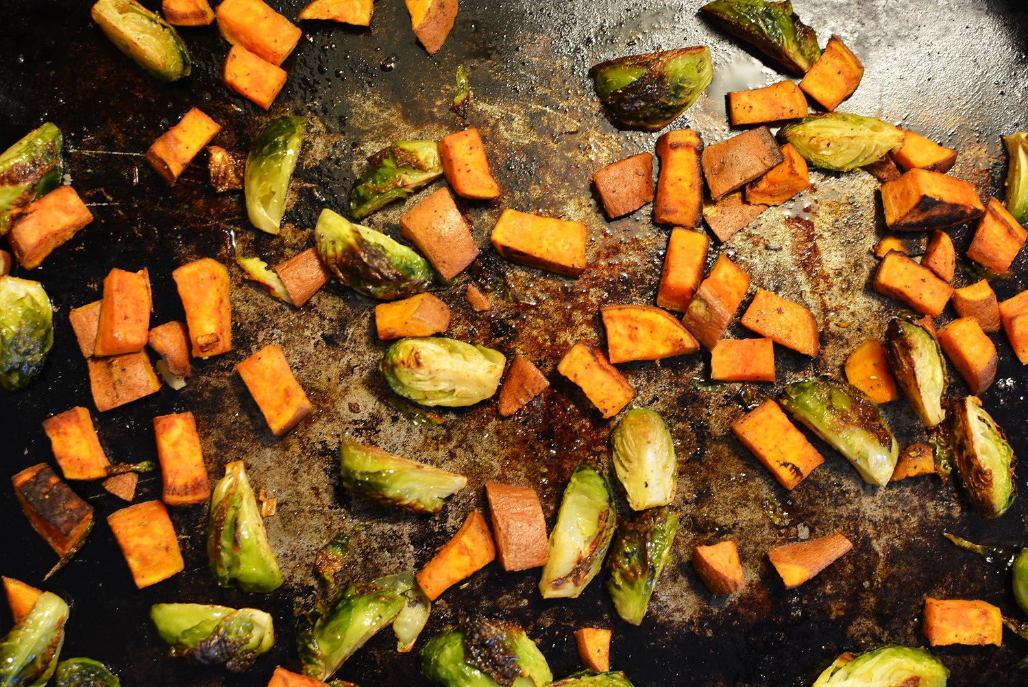 roasted sweet potato + brussels sprout