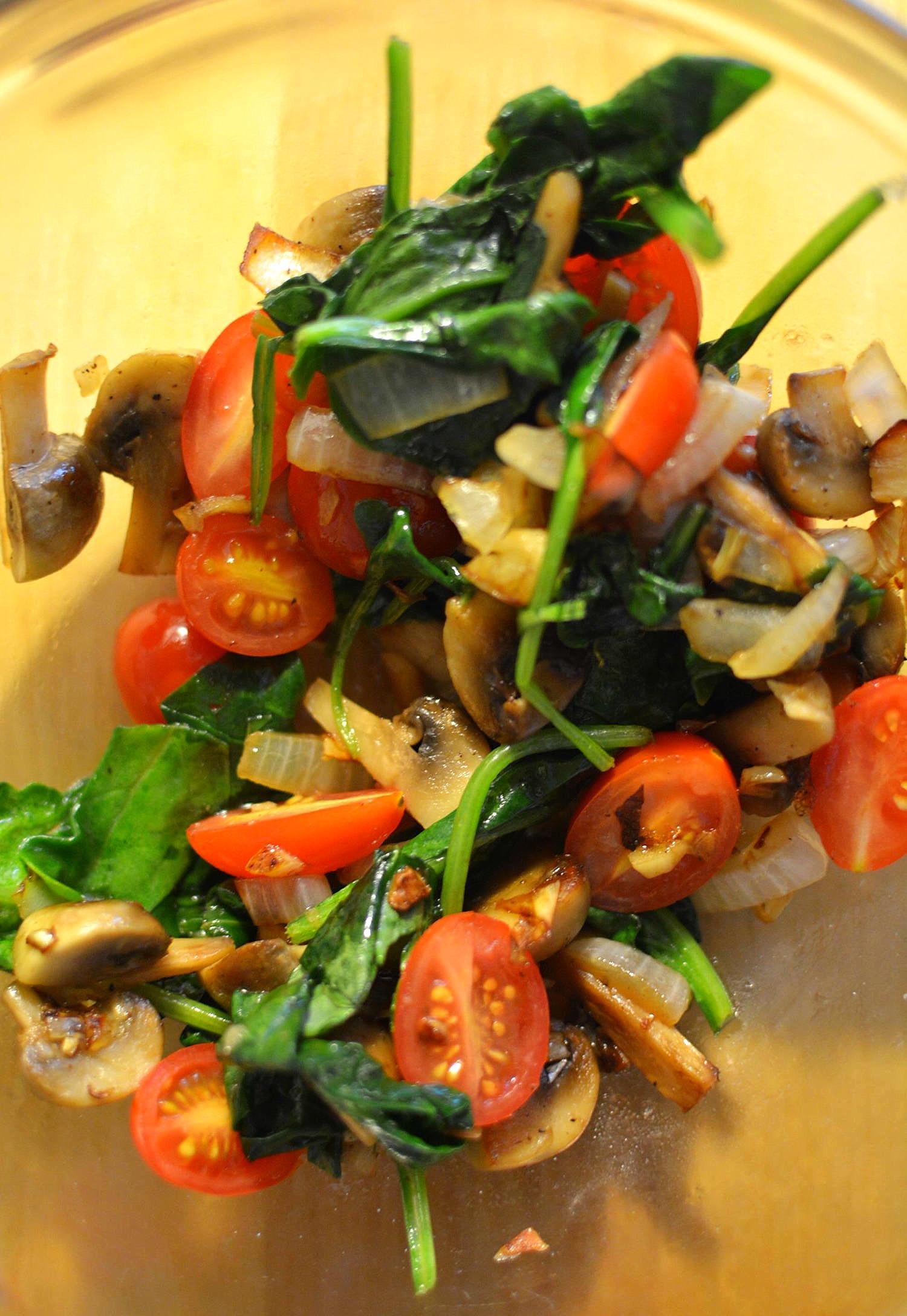 sauteed onion, garlic, mushroom, spinach + tomoato