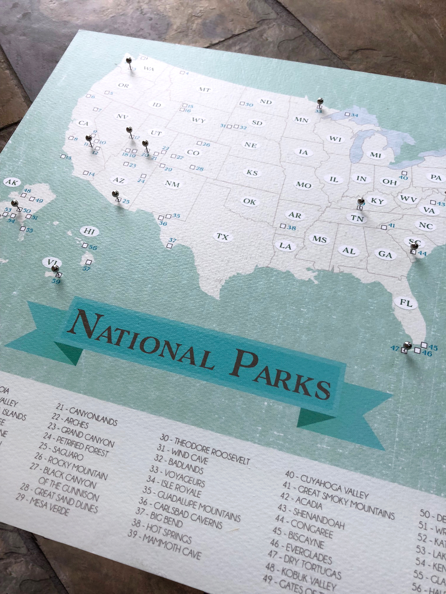OUr national parks map is a hit. Mark your travels to the parks with a pin or a pen. Available  Here  .