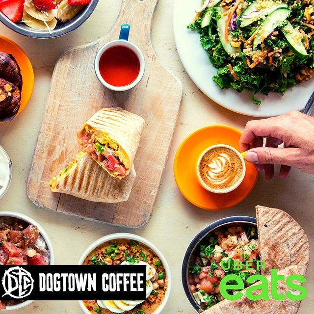 All of our menu options can be found on UberEats, so feel free to relax and have the taste of Dogtown brought to you!  #dogtowncoffee #ubereats #coffee #coffeelovers #acaibowl #munchieburrito #santamonicabeach #santamonica #santamonicacoffee #santamonicabreakfast #coffeeshopvibes #skateboarding #surfing #dtcsaltydog #breakfastsantamonica #veniceboardwalk