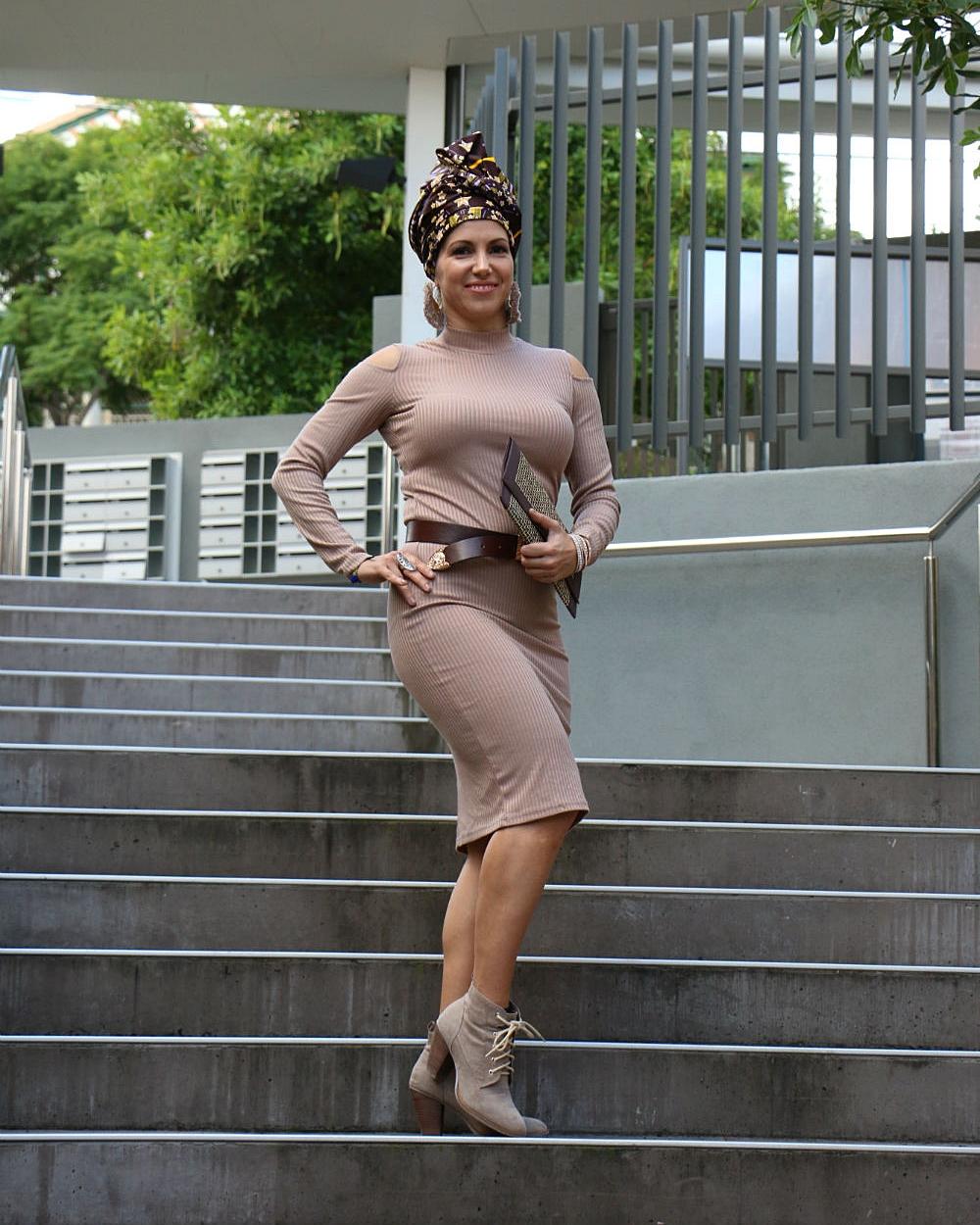 Brand ambassador DANIELA G strikes a pose in headwrap WHITNEY.