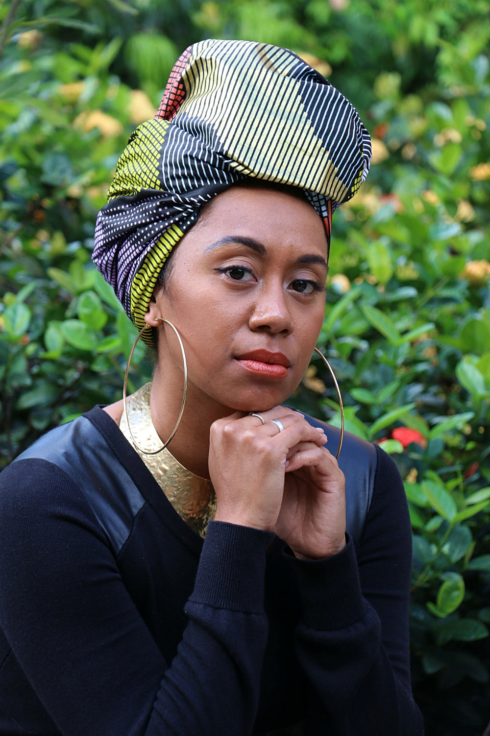 Brand ambassador GRACEY B styled  headwrap TARAJI  to compliment the gold design which is prominent throughout.