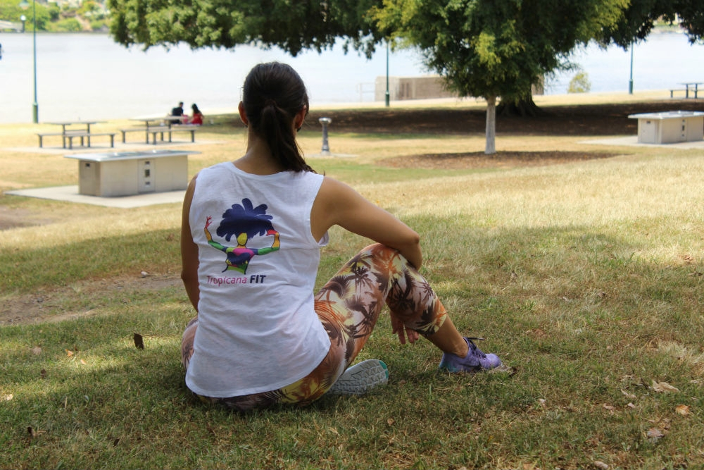 Daniela wears one of her Tropicana Fit t-shirts which reads in the front ...   STRONG SAMBA BODIES!