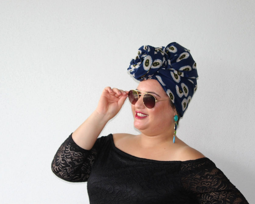 A popular headwrap style is the TOPKNOT. Our  headwrap SPECTRO  was the ideal choice for this style which Mel of course owned. Our moodboard called for retro sunglasses, colourful earrings and Nyx cream lipstick in a bold red for this themed photoshoot.