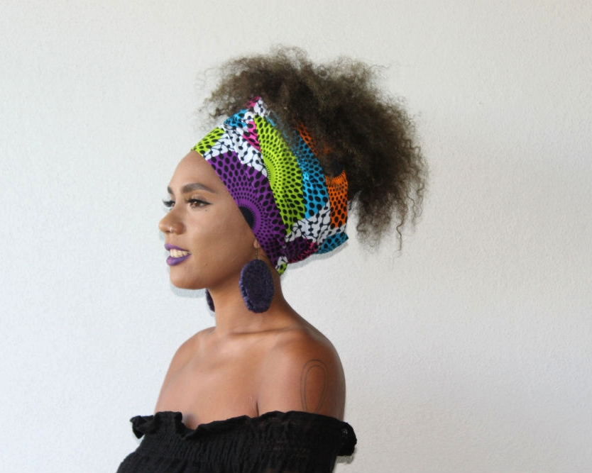We teamed our ankara headwrap  LERATO  with a pair of raffia earrings from Yanbalala Arts.