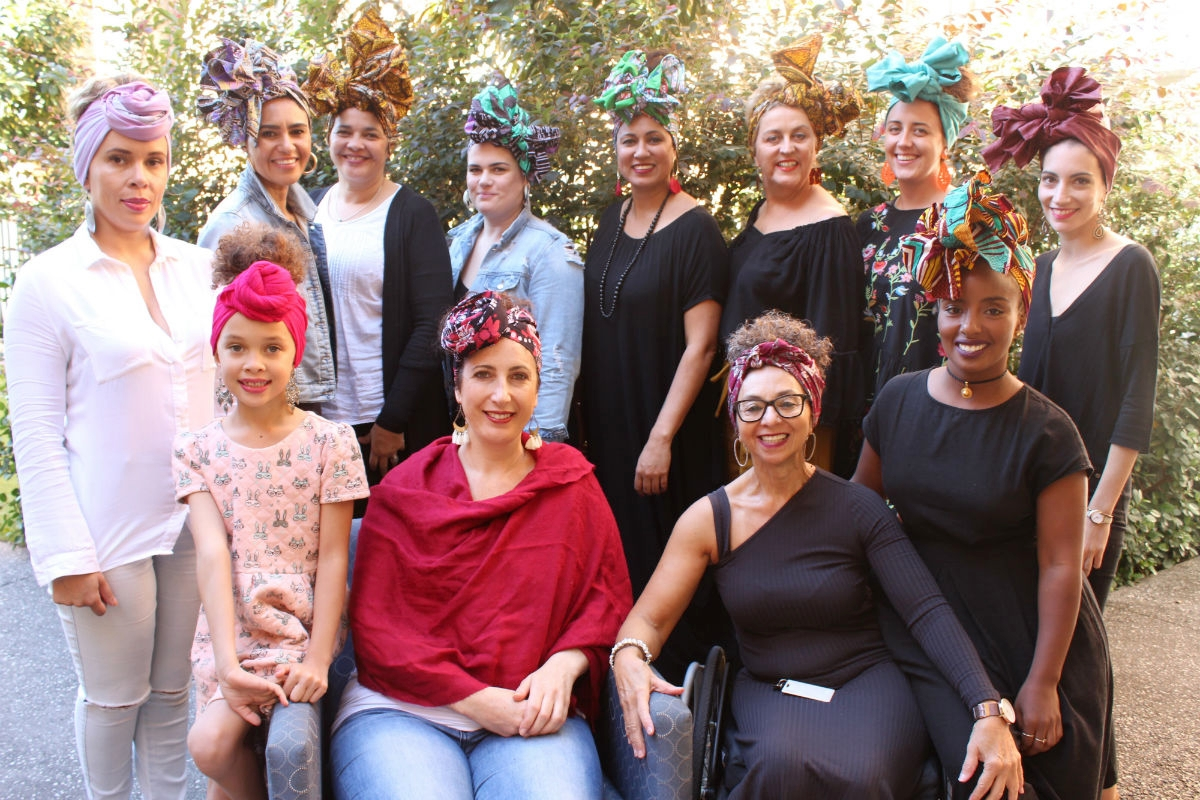 Photoshoot session with participants who attended our head wrap workshop earlier this year. Head wraps from the Diva Headwraps collections.
