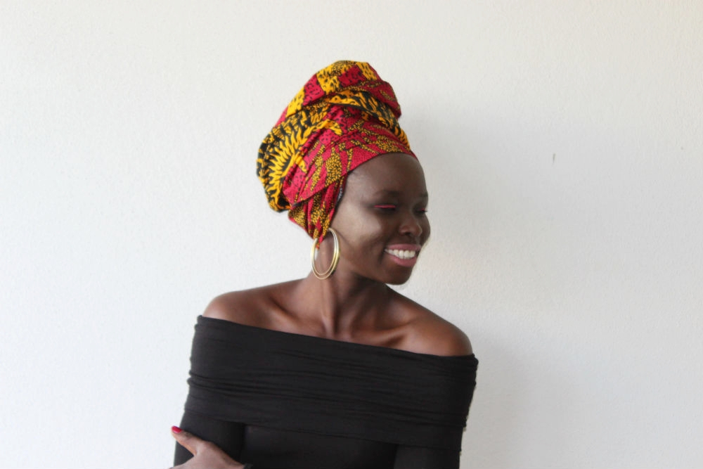 Headwrap SHURI, another of our new ankara designs, had Christine's name written on it! Our mood board called for an off-the-shoulder top from BooHoo; red nails; nude lipstick; gold hoops from Lovisa Jewellery and the obligatory eyeliner from NYX cosmetics in a bold red.