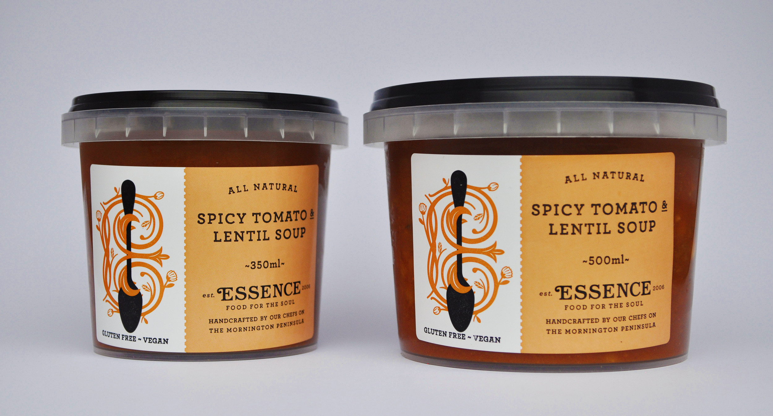 Spicy Tomato & Lentil Soup  350ml Container or 500ml Container/Pouch  [GF, Ve]
