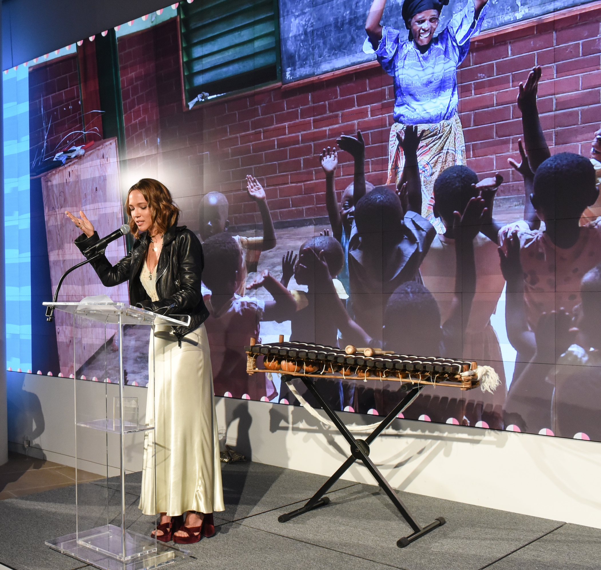 Buckman speaks about goods for good, her experience in Malawi, and the inspiration for  Alone I Cannot Do Better at the Spring 2016 Gala for Good;Photo credit: BFA.com