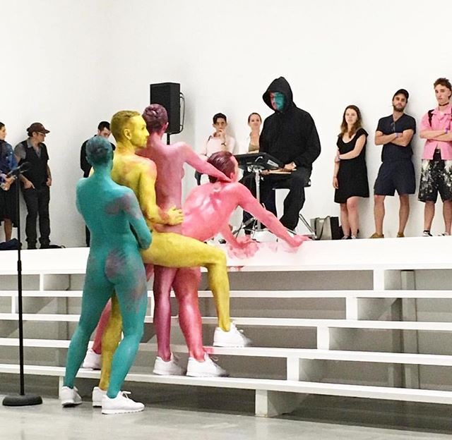 Congrats to @eddie_peake on his amazing performance #Head at @jeffreydeitch's reopened #WoosterStreet Gallery. #EddiePeake's work fuses painting, sculpture, music, and dance into performance creating an artistic experience that makes an historical statement in a completely contemporary way. This particular performance was inspired by his #Performa13 Commission in the same space 3 years ago. #JefferyDeitch #DeitchProjects #Regram: @performanyc