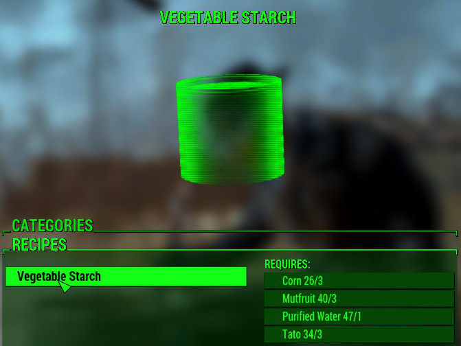 Vegetable Starch proved to be the molasses of the Commonwealth Wasteland.