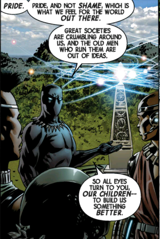 This panel comes up later. It's from New Avengers #1, seconds before Black Panther discovers the colliding universes. Those children die.