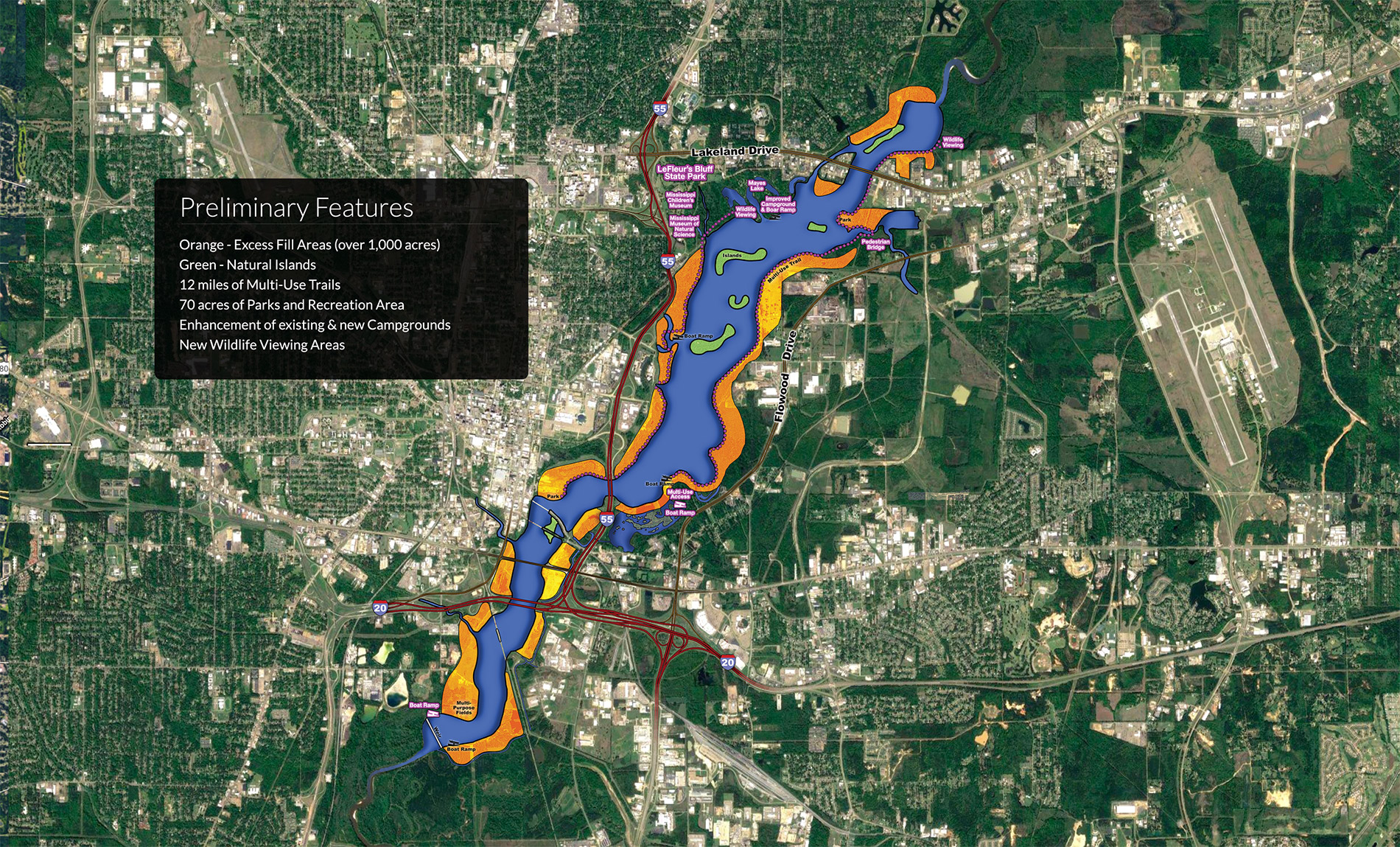 One Lake Plan image provided by Hinds Rankin Pearl River Drainage Control District